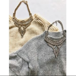 Crystal Silver Arrow Statement necklace